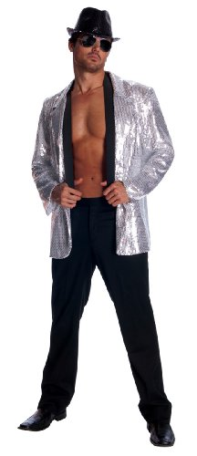 Rubie'S Costume Deluxe Men'S Sequin Jacket, Silver, X-Large front-473366