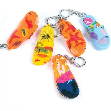 Sandal Beach / Sea Life Style Key Chains - 12 Piece Pack