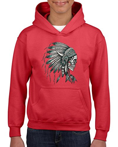 [Artix New Skull Indian Headdress (Side) Fashion People Couples Gifts Best Friend Gifts Unisex Hoodie For Girls and Boys Youth Kids Sweatshirt Clothing X-Small] (Indian Wolf Headdress Costume)
