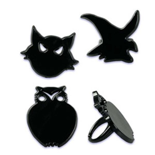 Dress My Cupcake DMC41H-330 12-Pack Witch, Cat Ring Decorative Cake Topper, Black, Owl, Halloween (Pink Owl Cupcake Liners compare prices)