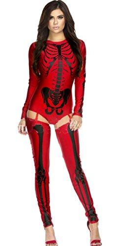 ShonanCos Sexy Ladies Halloween Ghost Skelton Costume (Red) (Xray Skeleton Kids Costume)