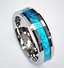 buy 6 Mm Polished Beveled Edge With Blue Opal Inlay Unisex Tungsten Carbide Wedding Band Ring Blo621H-7