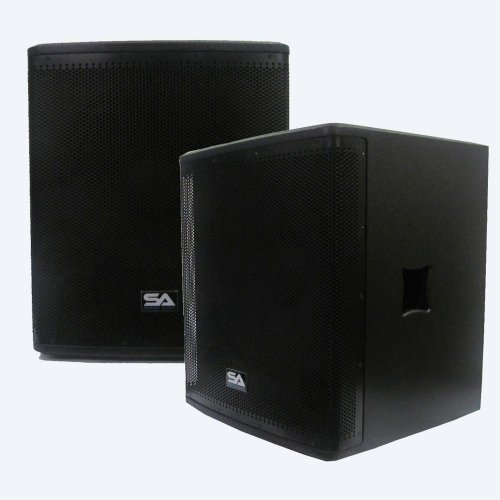 """Seismic Audio - Magma-118S-Pw-Pair - Pair Of Powered 18"""" Pro Audio Subwoofer Cabinets- 800 Watts Rms - Pa/Dj Stage, Studio, Live Sound Active 18 Inch Subwoofer"""