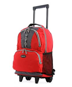 Olympia 18 inch Rolling Carry-On Wheeled Travel Backpack Luggage / Book Bag in Red Olympia 18 inch