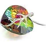 Silberkette mit original Swarovski® Elements Herz Anhänger, mehrfarbig, 18 mm, mit Schmucketui, ideal als Geschenk für Frau oder Freundin