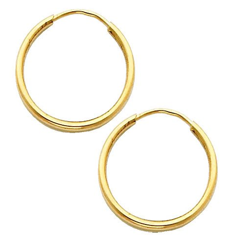 14K Yellow Gold 1.5mm Thickness High Polished Endless Hoop Earrings (0.7