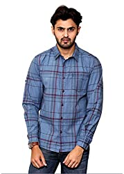 Rafters pink and indigo blue check, full sleeves men's regular fit casual shirt