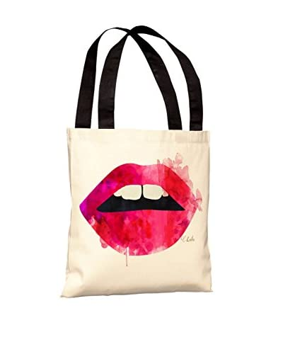 Oliver Gal Lola's Lips Tote Bag, White/Red