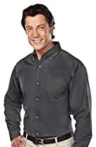 Tri-mountain Mens 60/40 stain resistant long sleeve twill shirt. - CHARCOAL - 2XLT