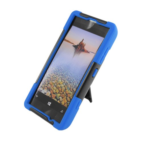 Qtech PHNK521YSTBLBK HypeKick Hybrid Protective Gummy TPU Case with Kickstand for Nokia Lumia 521 - Retail Packaging - Blue/Black