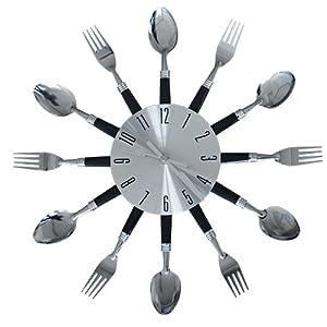 Orologio da parete posate forchette cucchiai colore for Orologi a parete da cucina