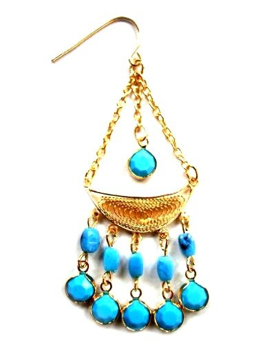 Turquoise Goddess Chandelier Tribal Earrings