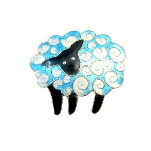 On a Cloud Counting Sheep Enamel Over Sterling Pin / Brooch
