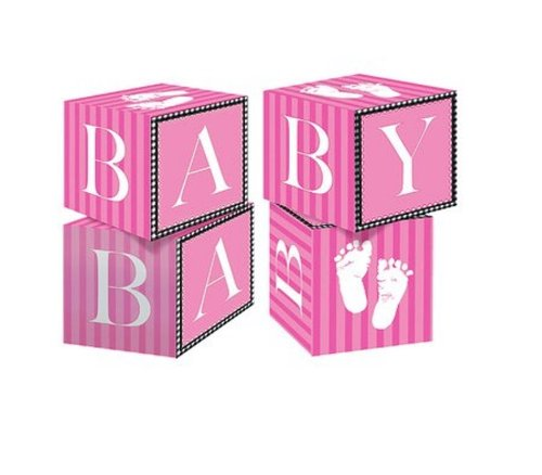 Creative Converting Sweet Baby Feet Pink Centerpiece Blocks