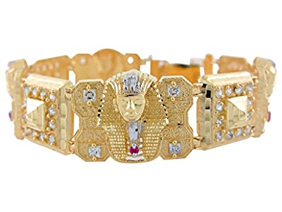 10k Two-Tone Gold CZ Accented King Tut Egyptian Pyramid and Hieroglyph Bracelet