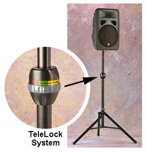 Ultimate Support Ts-99B Telelock Lift-Assist Aluminum Speaker Stand With Integrated Speaker Adapter, Extra Height