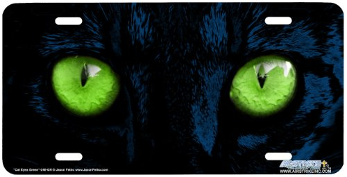 Cat Eyes Green-Feline Art-License Plate Car Auto Front Novelty Tag by Jason Fetko from Airstrike