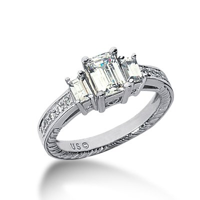 1.0 Ct Diamond Engagement Ring 14k White Gold Emerald Cut Antique Style SI3 H