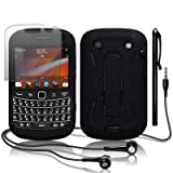 BLACKBERRY BOLD 9900 BLACK EXPLORER CASE / COVER / SHELL / SHIELD WITH STAND + SCREEN PROTECTOR + STYLUS + HEADSET PART OF THE QUBITS ACCESSORIES RANGEby Qubits