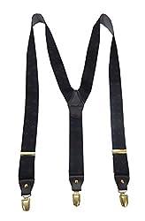 Navaksha Cloudy Black Plain Adjustable Suspender