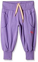 Puma Girls' Trousers (82668802_Bougainvillea Purple_116)