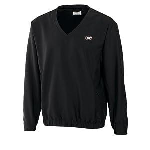 NCAA Mens Georgia Bulldogs Black Windtec Astute V-Neck Windshirt by Cutter & Buck