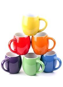 Francois et Mimi Set of 6 Colorful 14oz Small-mouth Ceramic Coffee Mugs by Francois et Mimi