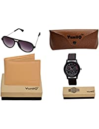 Combo Pack Of YuniiQ Beige Color Wallet With Black Aviators With Black Dial Chronograph Watch.