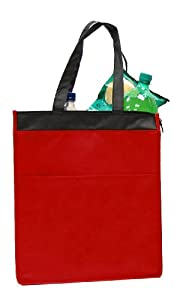 Insulated zippered Hot & Cold Cooler Tote - Large , Red