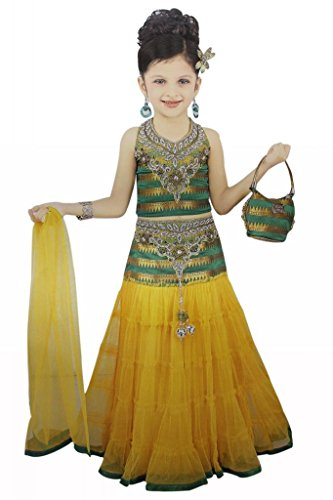 Girl's Green & Yellow Designer Lehenga with a Purse, Indian Clothing