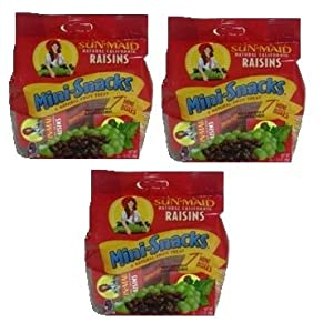 Sun Maid Natural California Raisins Mini-Snacks, 7 Mini Boxes, (3 PACK)