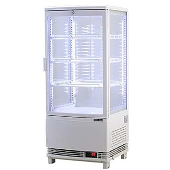 レマコム 4面ガラス冷蔵ショーケース(LED仕様) 前開きタイプ 84リットル 幅425×奥行412×高さ987(mm) RCS-4G84SL