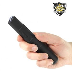 Streetwise 2.5 Million Volt Lightning Rod Rechargeable Stun Pen w/LED Light & Holster (Black) - LIFETIME WARRANTY