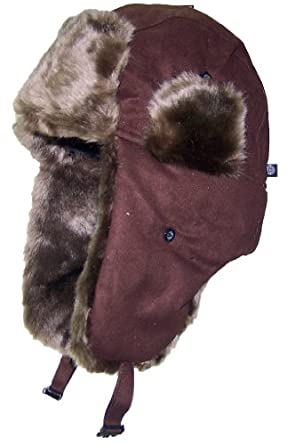 City Hunter Faux Suede Leather Russian/Trooper Winter Hat (One Size) - Brown