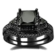 2.01ct Black Princess Cut Diamond Engagement Ring Wedding Set 14k Black Gold Rhodium Plating Oer…