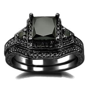 2.01ct Black Princess Cut Diamond Engagement Ring Wedding Set 14k Black Gold Rhodium Plating Over White Gold