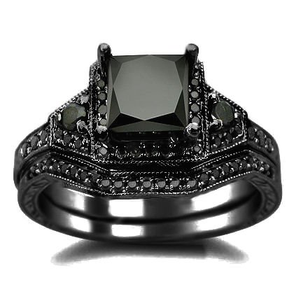 2.01ct Black Princess Cut Diamond Engagement