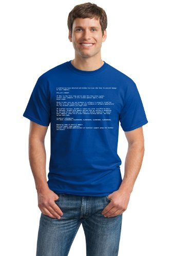 BLUE SCREEN OF DEATH Adult Unisex T-shirt / Geeky Windows Error Nerd Computer Tee Shirt M