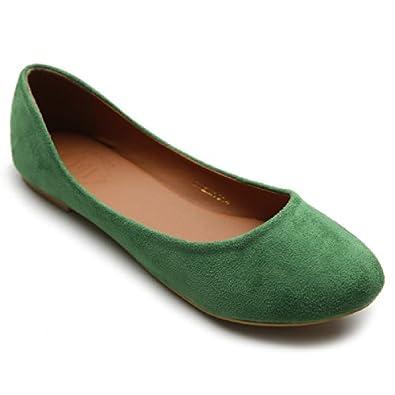 35571439c Ollio Womens Shoe Ballet Light Faux Suede Low Heels Flat