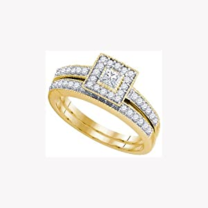 10K Yellow Gold Round and Princess Cut Solitaire Engagement Bridal Set .55 Cttw