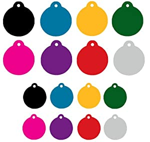 Personalized Engraved Round Shape Pet Tag Pet id tag dog tag Cat Tag by CNATTAGS (Blue, Small)