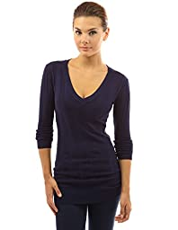 PattyBoutik Women\'s V Neck Ribbed Tunic Knit Top (Dark Blue L)