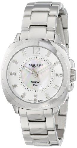 Akribos XXIV Women's Lady Diamond Mother-Of-Pearl Swiss Quartz Stainless Steel Bracelet Watch
