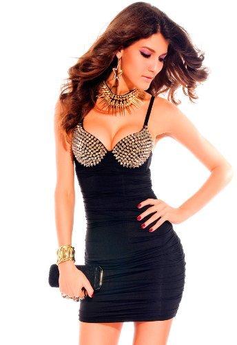 erdbeerloft - Kleid mit Push Up und Nieten Bustier