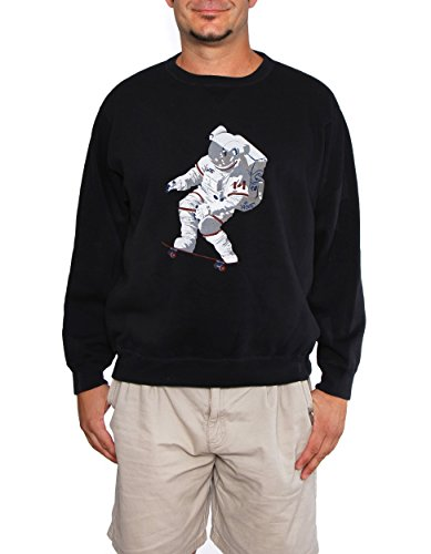 60°N 95°W Men's Official Chris Hadfield Skateboarding Astronaut Sweater Small Midnight