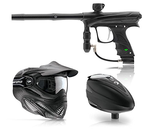 DYE Rize, Proto FS Goggle, and DYE Rotor Hopper Paintball Combo - Black (Solenoid Dye compare prices)
