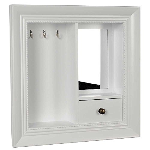 hab-gut-jb004-white-jewellery-wall-board-holder-with-mirror-cabinet-storage-16x16-inches-40-x-40-cm