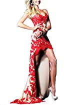 Hot Sale Women's Sexy Celebrity Style Strapless Bride & Bridesmaid Evening Dress JH-E8606 (L, Red Flower)