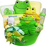 My Little Pollywog Bathtime Fun for Baby Gift Basket, Neutral Boys or Girls