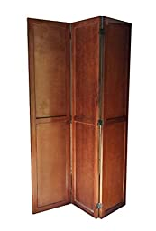 Urnporium Solid Wood 3 Panel Room Divider Partition Screen with Mahogany Wood Frame & Solid Albizia Wood Panels Room-Divider-Wood-3-Mah
